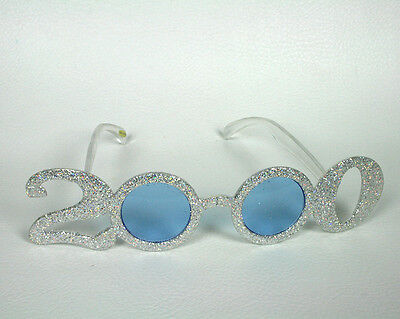2000 New Year's Eve Party Glitter Glasses Silver White Novelty Year Millennium