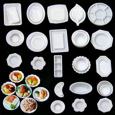 HA New 33PCS Miniature 1:12 Scale Dollhouse Kitchen Tableware Plastic Plates