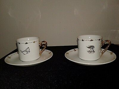 Set of 2 After 6 Looney Tunes Demitasse Cup and Saucer Set Bugs Taz Daffy Marvin