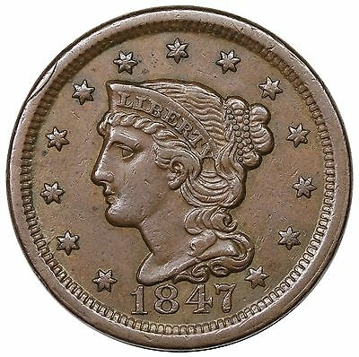 1847 Large Cent N-21 (N-40) MDS b