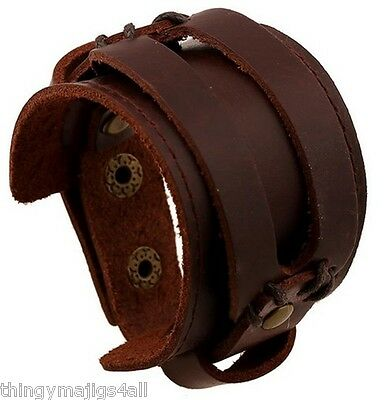 Genuine Brown Leather Rivet Wristband Wrist Strap Bracelet Cuff Surfer Mens A41