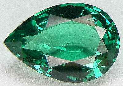 EXCELLENT CUT PEAR 10x7 MM.  LAB CREATED NANOCRYSTAL EMERALD