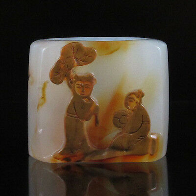 Chinese Natural Agate Ring Low Relief Lotus Kids