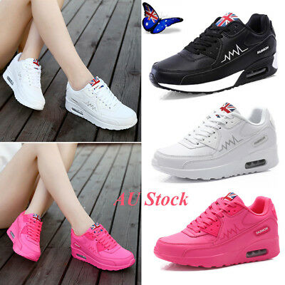 AU Women's Lace up Air Cushion Platform Shoes Sports Running Sneakers Trainers