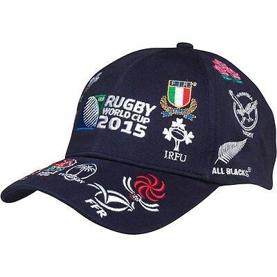 RUGBY ENGLAND 2015 WORLD CUP  20 NATIONS LOGO NAVY Baseball Cap UNISEX
