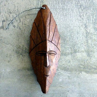 Vintage Hand Carved Wood Face Tribal Wall Hanging Souvenir South Pacific Tikibar