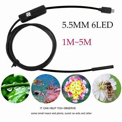 1~5M 6 LED Waterproof Android Endoscope Borescope Snake Inspection Camera video