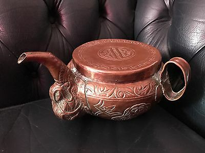 Rare Antique Circa 1800 Oriental/Asian Copper Old Teapot Chocolate Making Kettle
