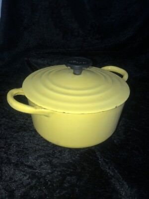 Vintage Le Creuset Yellow French Dutch Oven Pan Pot Lid 1 Quart