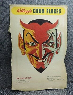 Kellogg's Corn Flakes Cereal Box Back Devil Mask 1950's