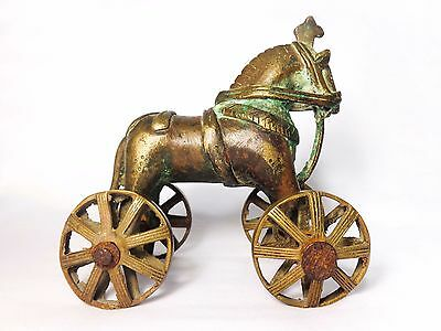 Antique Indian Late 19Th C. Bronze Temple Toy Horse On Wheels W/orig. Patina