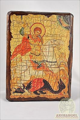 """Orthodox Wooden Handmade copy ancient icon St Geogre 6.7"""""""