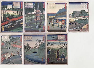 Orginal Hiroshige 2 (1826-1869), 7 Prints from Serie Famous Place in Edo