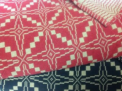 Star Of Bethlehem Hand Woven Coverlet Queen Size Red/Brick Color