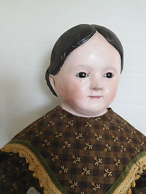 "27"" German Smiling Glass Eye Papier Mache w/ Original Clothes Circa 1880"