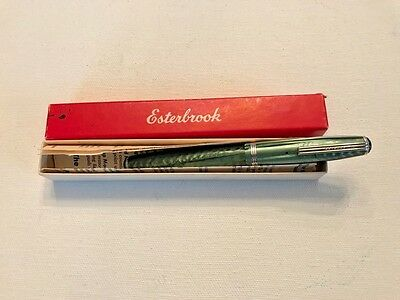 Green Esterbrook SJ Fountain Pen 2314 B Relief Nib Broad Pristine Condition +Box