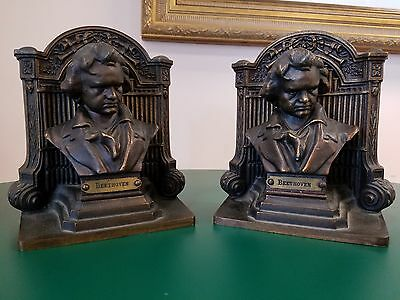 Antique Bookends Bradley and Hubbard Signed Beethoven