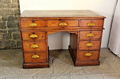 Heavy, Antique Reclaimed School Head Masters Desk (by E.Jarnold, Leeds) STAMFORD