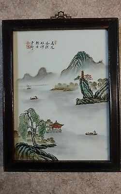 Old Republic Chinese Hand Painted Porcelain Tile Plaque  Signed