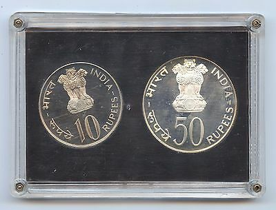India 2 Pc Development Proof Set (#1064) Bombay Mint. Cert & Box Some Cloudiness