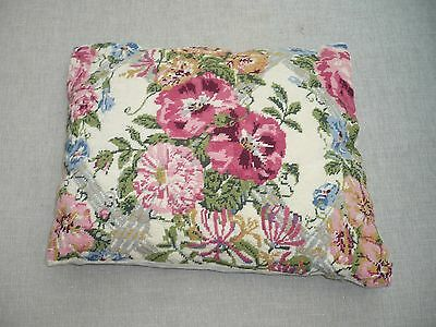 """Vintage tapestry cushion depicting pink flowers plain back 17""""/14"""" pretty"""