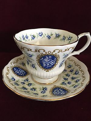 Royal Albert Bone China  CAMEO SERIES Tea Cup & Saucer in Blue tones with Gold