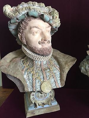 Pair of Large Antique French Terracota Busts of French King & Queen 16""