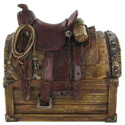 Small Western Cowboy Saddle on Rustic Looking Storage Chest Tack Box (Opens) NEW