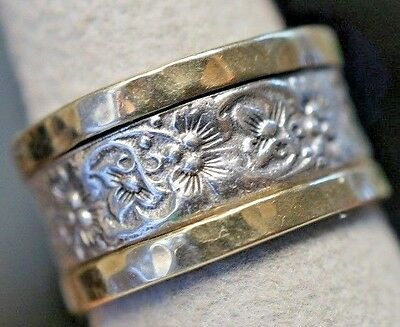 Prodesso Sterling Silver 925 & 14k Gold Flower Ring Size 7 1/2 Made In Israel