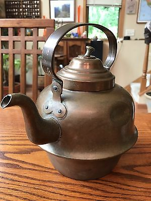 Completely Copper Tea Kettle Pot Old Vintage Antique #2 on Handle Rare Used