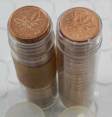 Canada 1962 & 1963 BU Red 1 Cent 50 Coin Original Roll Lot of 2 Coin C0256