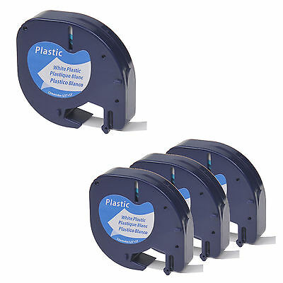4 PK Black on White Plastic Label Tape 1/2'' for DYMO Letra Tag LT 91331 LT100H