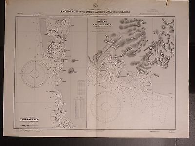 WWII Era Nautical Chart 3064 Indonesian Anchorages South & West Coast of Celebes