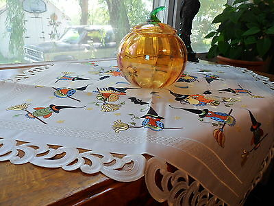 "HAPPY OWLOWEEN Halloween Embroidered 36""  Table Topper Tablecloth"