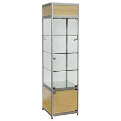 Retails Lighted Maple Tower Display Case 20 in. W x 20 in. D x 78 in. H