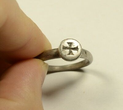 Rare Byzantine Style Silver Ring With Cross - Wearable