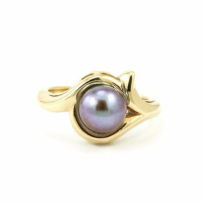 14k White Gold Dyed Cultured Pearl Ring(estate, 3.5g, Size:4.75) 3858
