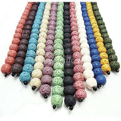New Natural Stone Volcano Lava Round Loose Beads For DIY Jewelry Finding 5 Sizes