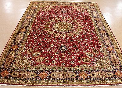 7 x 10 PERSIAN TABRIZ Hand Knotted Wool RED NAVY GREEN Oriental Rug Carpet