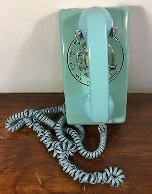 Vintage Western Electric Bell System Blue Wall Phone 554BMP Rotary Telephone