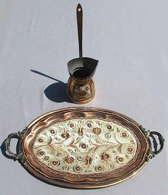 Vintage Middle Eastern Islamic Tray & Ibrik Coffee Pot Tri-Metal Copper Silver