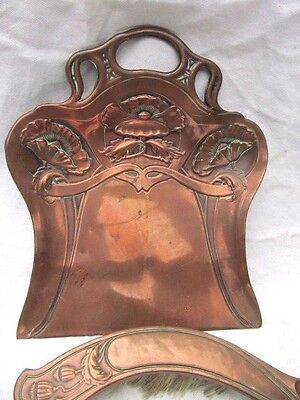 Genuine Copper Art Nouveau Floral  Crumb Tray And Brush . Inc Reg Number
