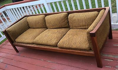 Mid Century Modern Sofa, Refinished Walnut Frame With New Straps!