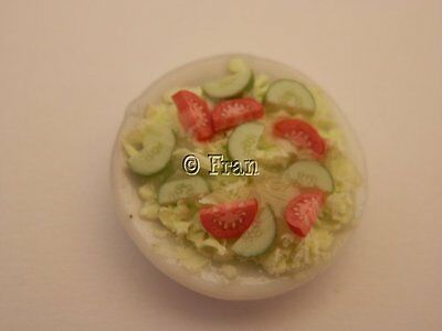 Dolls house food: Dish of mixed salad  -By Fran