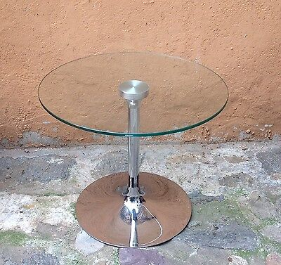 Superbe TABLE BASSE DESIGN METAL CHROME & VERRE Marqué Ztempered Made in Italy