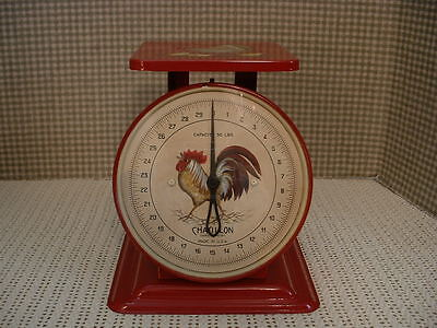 Vintage Metal Chatillon 30 Lb. Kitchen Scale Glass Face Roosters Folk Art Jmd