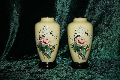Beautiful Pair of Yellow Japanese Cloisonne Enamel Vases With Floral Motif