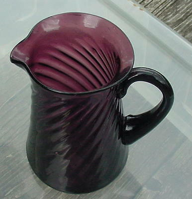 Vtg Blown Purple Glass Ribbed Pitcher W Ith Purple Applied Handle-(19)