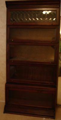 VINTAGE STACKING BARRISTER BOOKCASE with Leaded Glass shelf