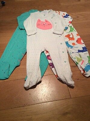 Next Baby Girls Sleepsuits 9-12 Months BNWT - Next Baby Babygrows